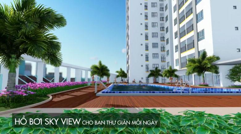 Hồ bơi Sky view tại căn hộ moonlight residences đặng văn bi thủ đức