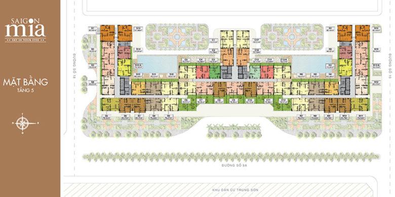 Mặt bằng tầng 5 căn hộ Saigon mia