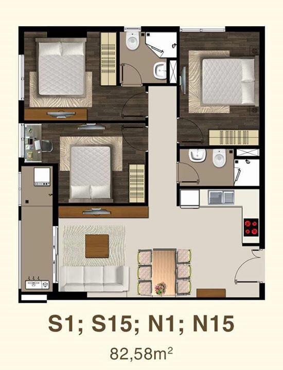 Mẫu căn hộ S1 saigon mia