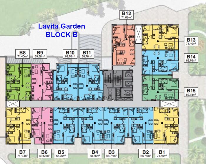 Mặt bằng tầng Block B căn hộ Lavita garden thủ đức