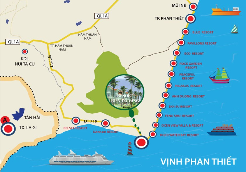 Vị trí Condotel Biển Đá Vàng Phan Thiế t